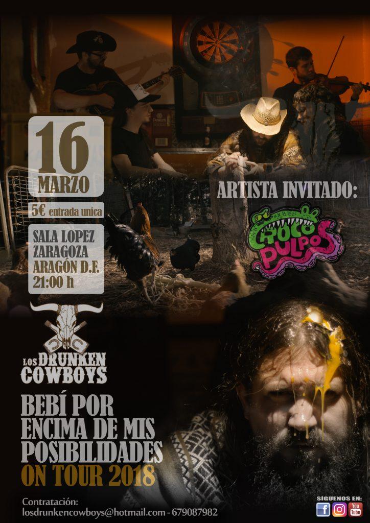 cartel concierto sala lopez drunken cowboys y crocopulpos